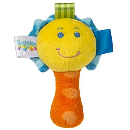 Taggies Colours Mini Rattle This rattle gives baby soft fabric to squeeze and shake. Baby can make some noise and explore the interactive tags on this 5.5-inch toy. Taggies was born over a decade ago when a mom noticed her child's fascination with satin tags. This idea blossomed into a world of treasured products. Exploring Taggies textured tags can provide tactile stimulation that babies crave for development and have an amazing calming effect on little ones. Taggies Signature Collection is recognized as the premium line of wonderfully soft and soothing Taggies toys made by Mary Meyer. At Mary Meyer, we continually strive to design extraordinary products of outstanding quality, all the while keeping an eye on customer service and value.