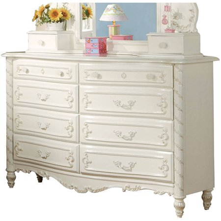 Acme Furniture Pearl, Pearl White and Gold Brush Accent Dresser with Eight Drawers