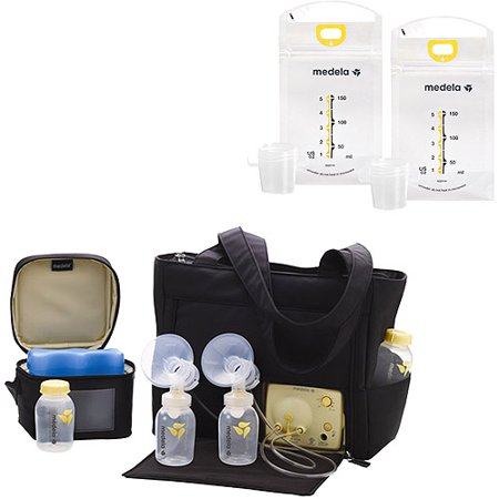 Medela Pump in Style Advanced with Go Tote, Double Electric Breast Pump, Nursing Breastfeeding Supplement, Portable Battery Pack, Sleek Microfiber Tote Bag included with Breastpump