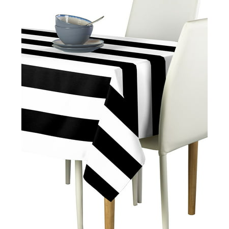 Black & White Cabana Stripe Tablecloth 60