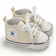 Musuos Baby Canvas Prewalker Shoelace Anti Skid Soft Bottom High Top Shoes
