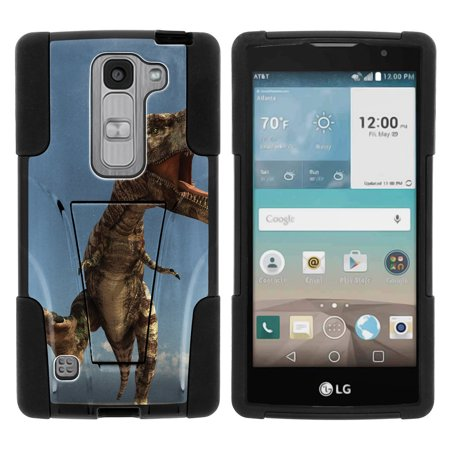 LG Escape 2 and Spirit LTE H443 STRIKE IMPACT Dual Layer Shock Absorbing Case with Built-In Kickstand - Charging Dinosaur