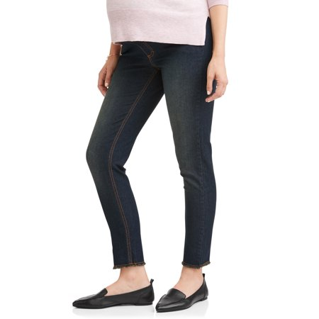 Maternity oh! mamma skinny jeans with full panel and frayed hem (available in plus sizes)