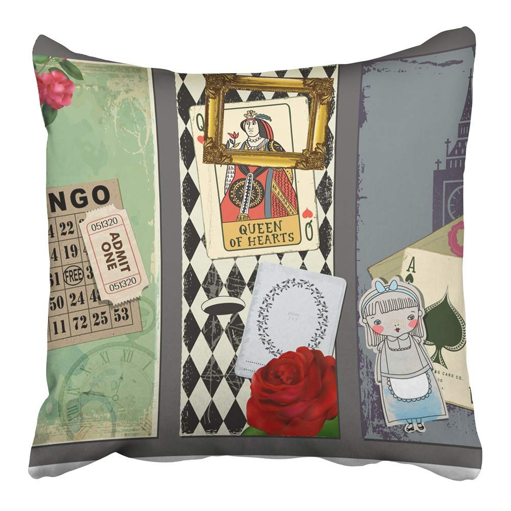 USART Wonderland with Gold Red Rose Queen of Hearts Playing Bingo Vintage Ticket Pillowcase Cushion Cover 16x16 inch