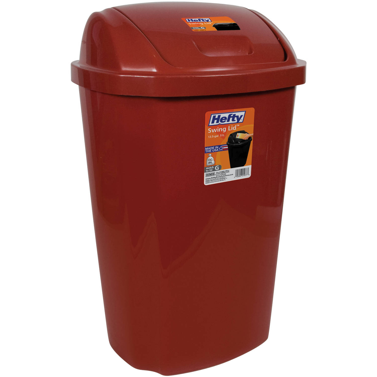 Kitchen Trash Can 13.5 Gallon Hefty Swing Lid Red Waste Basket Garbage Bin  NEW