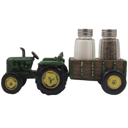 Classic Farm Tractor and Hay Wagon Salt & Pepper Shaker Set for Decorative Rustic Country Kitchen Decor Table Centerpieces by Home 'n Gifts - Farm Centerpieces