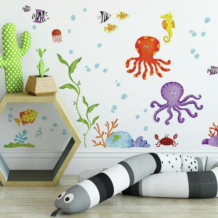 Adventures Under the Sea Wall Decals TROPICAL FISH Ocean Stickers Bathroom Decor