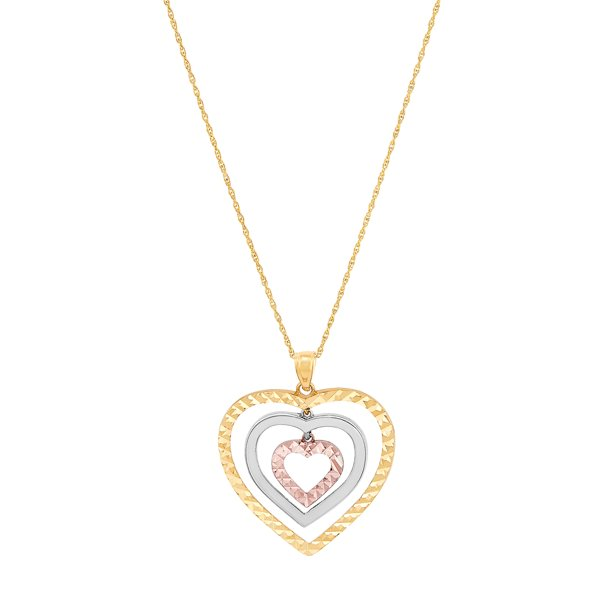 Brilliance Fine Jewelry 10K Yellow, White and Pink Gold Triple...