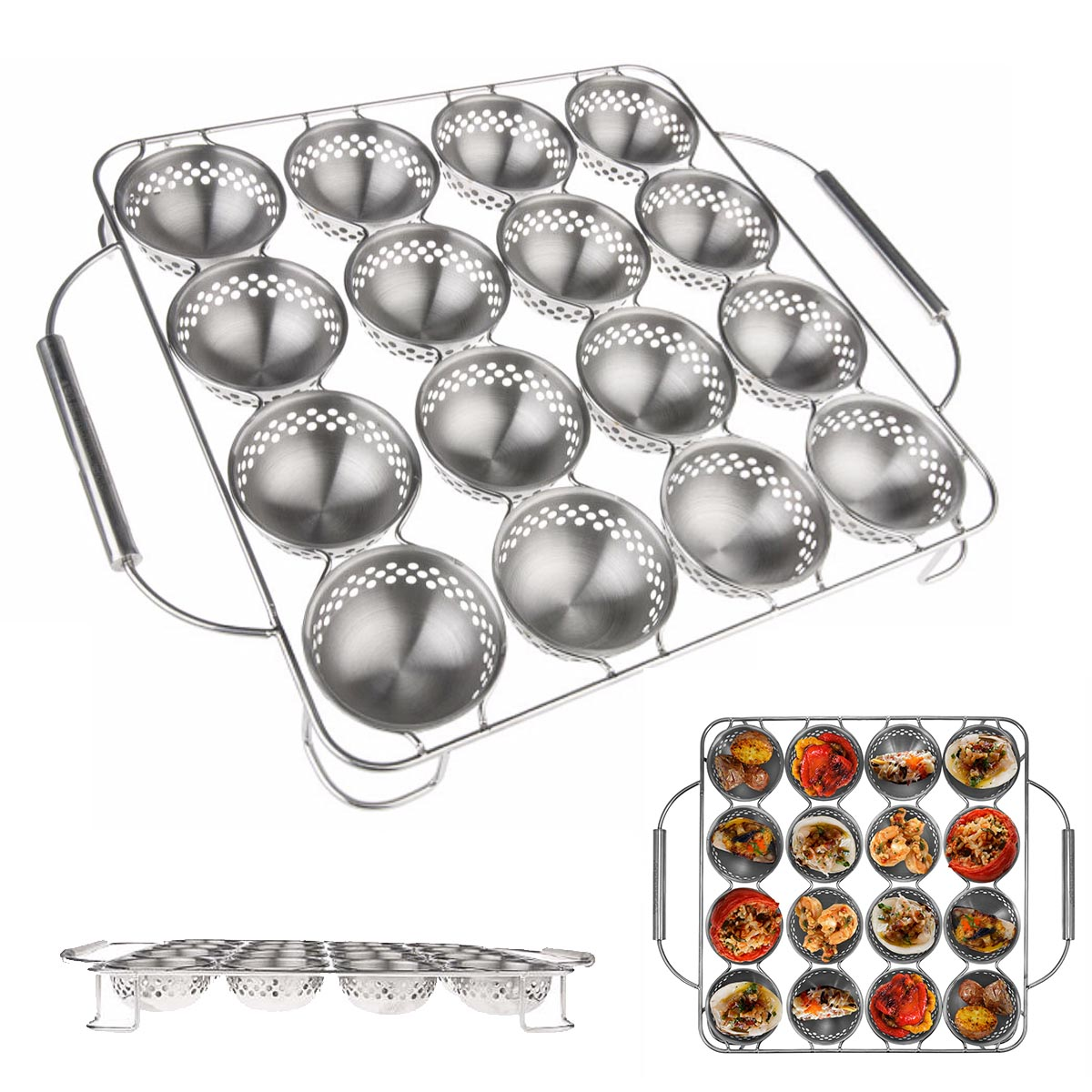 Stainless Steel BBQ Appetizer Pan 16 Cavity Grilling Cooking Serve Tray Barbecue