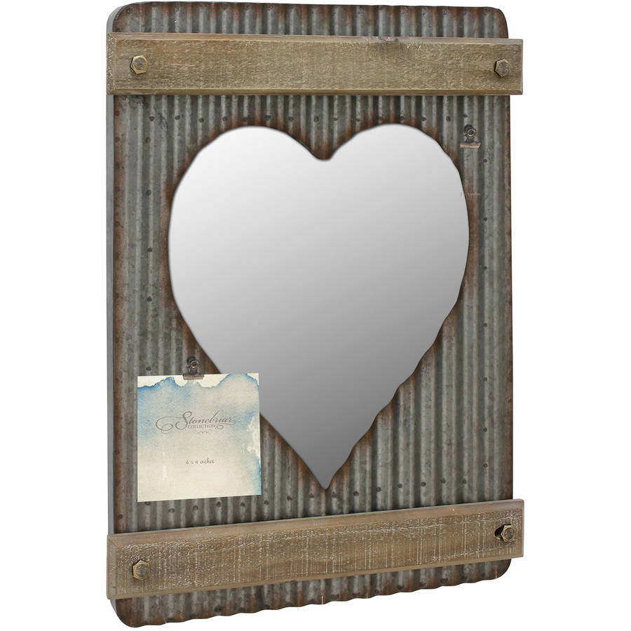 Stonebriar Collection Corrugated Metal and Wood Heart Shaped Wall Mirror Decor