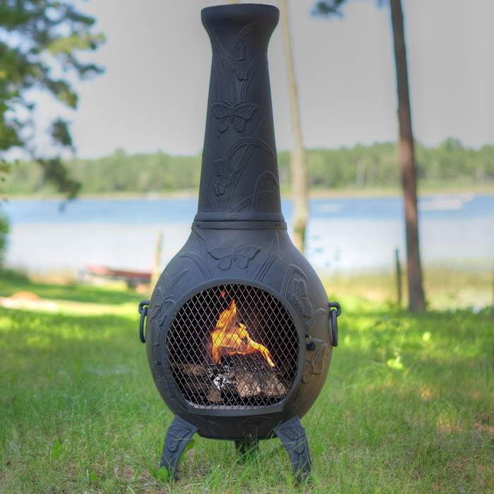 Outdoor Chiminea Fireplace Butterfly in Charcoal Finish (Gas Fueled) by The Blue Rooster