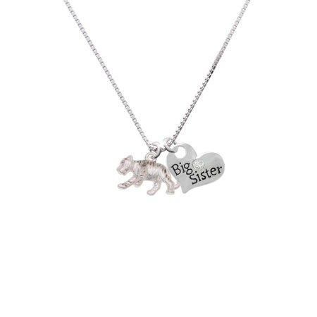 Silvertone Tiger Cub Big Sister Heart Necklace
