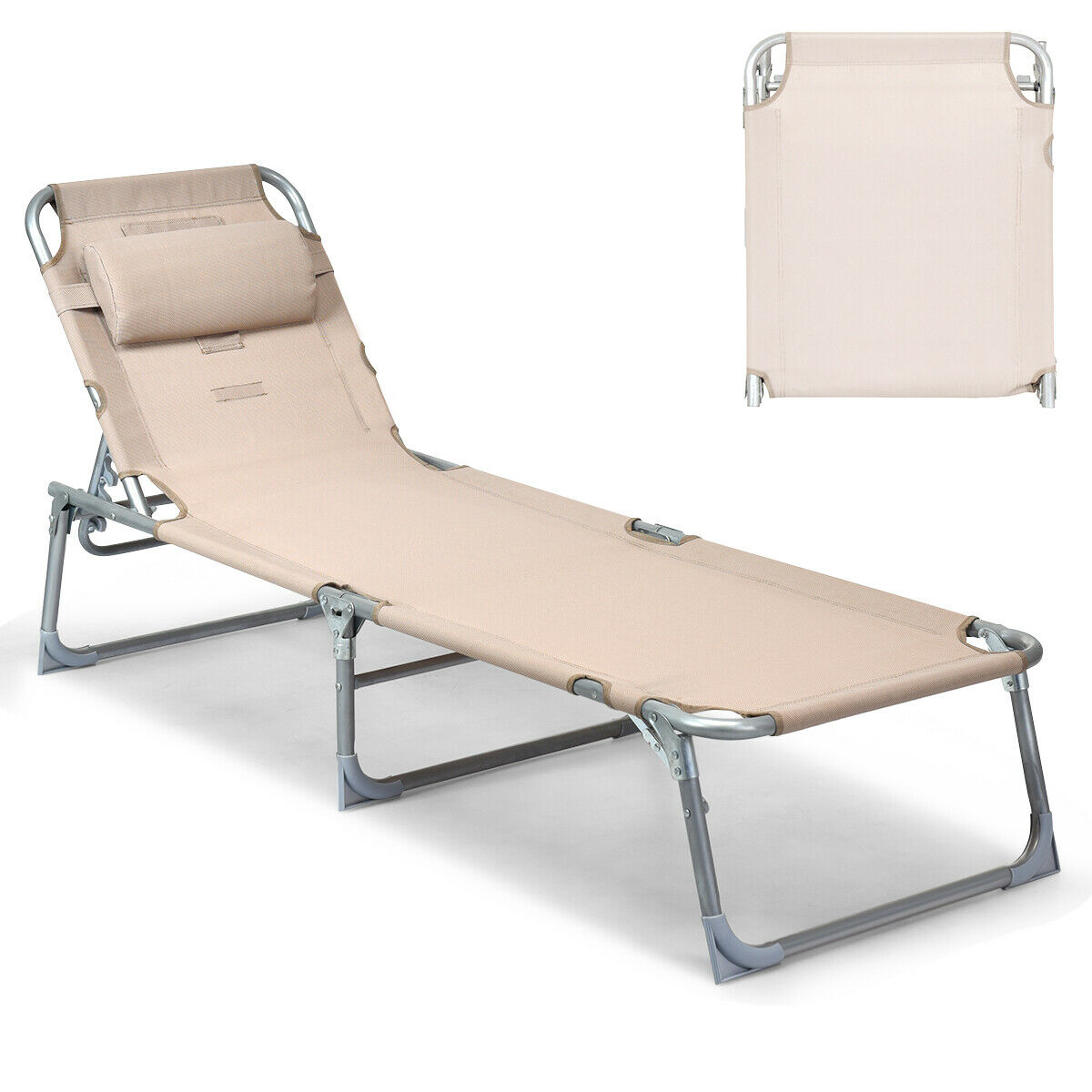 - Gymax Adjustable Pool Chaise Lounge Chair Bench Recliner Beach