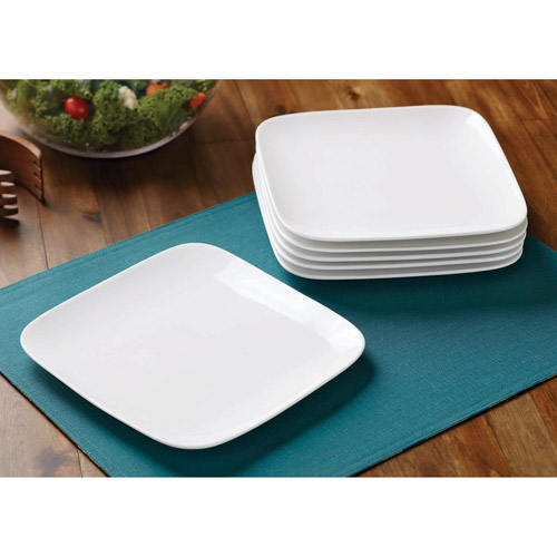 Better Homes and Gardens Soft Square Salad Plates, White, Set of 6
