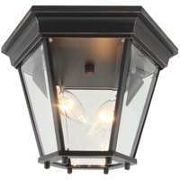 2 Light Outdoor Ceiling Lantern in Imperial Black