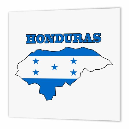 3dRose Honduran flag in the outline map and word Honduras, Iron On Heat Transfer, 10 by 10-inch, For White Material