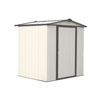 Steel Storage Shed 6 x 5 ft. Galvanized Low Gable Cream/Charcoal Trim