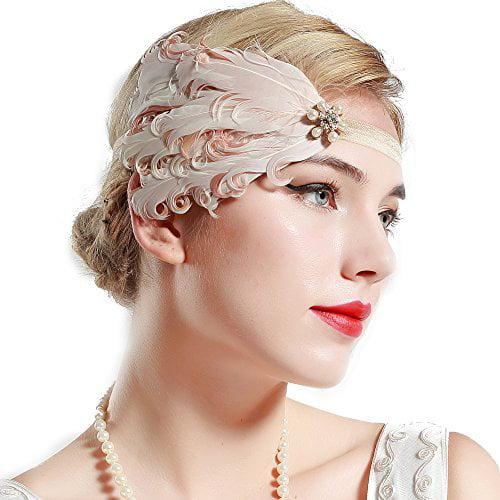 1920s Flapper Peacock Feather Headband 20s Headpiece  Accessory