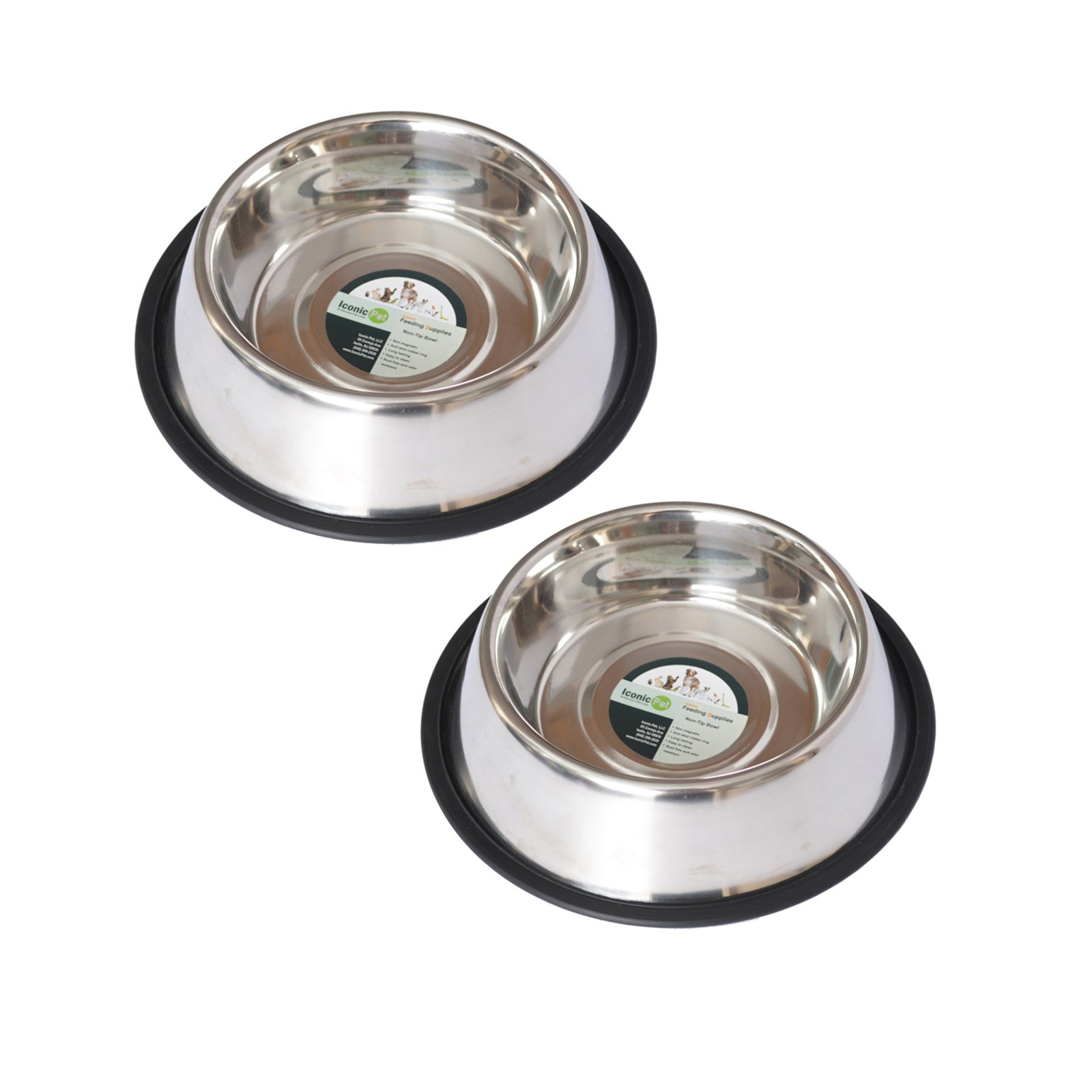 2-Pack Stainless Steel Non-Skid Pet Bowl For Dog or Cat, 24 Oz, 3 Cup
