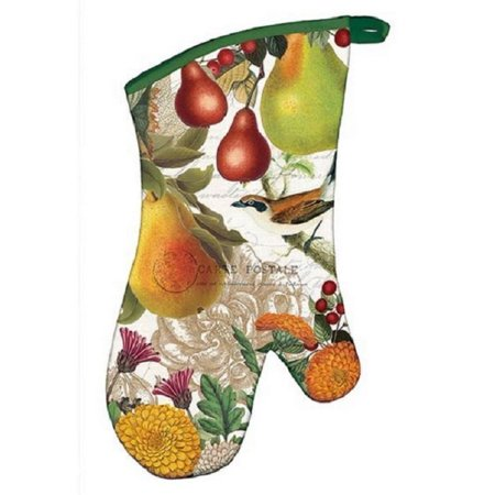 - Golden Pear Oven Mitt - Pears & Flowers, Padded oven mitt with quilted inside By Michel Design Works