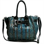 Ritz Enterprises MS105-TQ-Leopard Womens Belted Leopard Print Fashion Tote Bag Striped With Rhinestones, Turquoise
