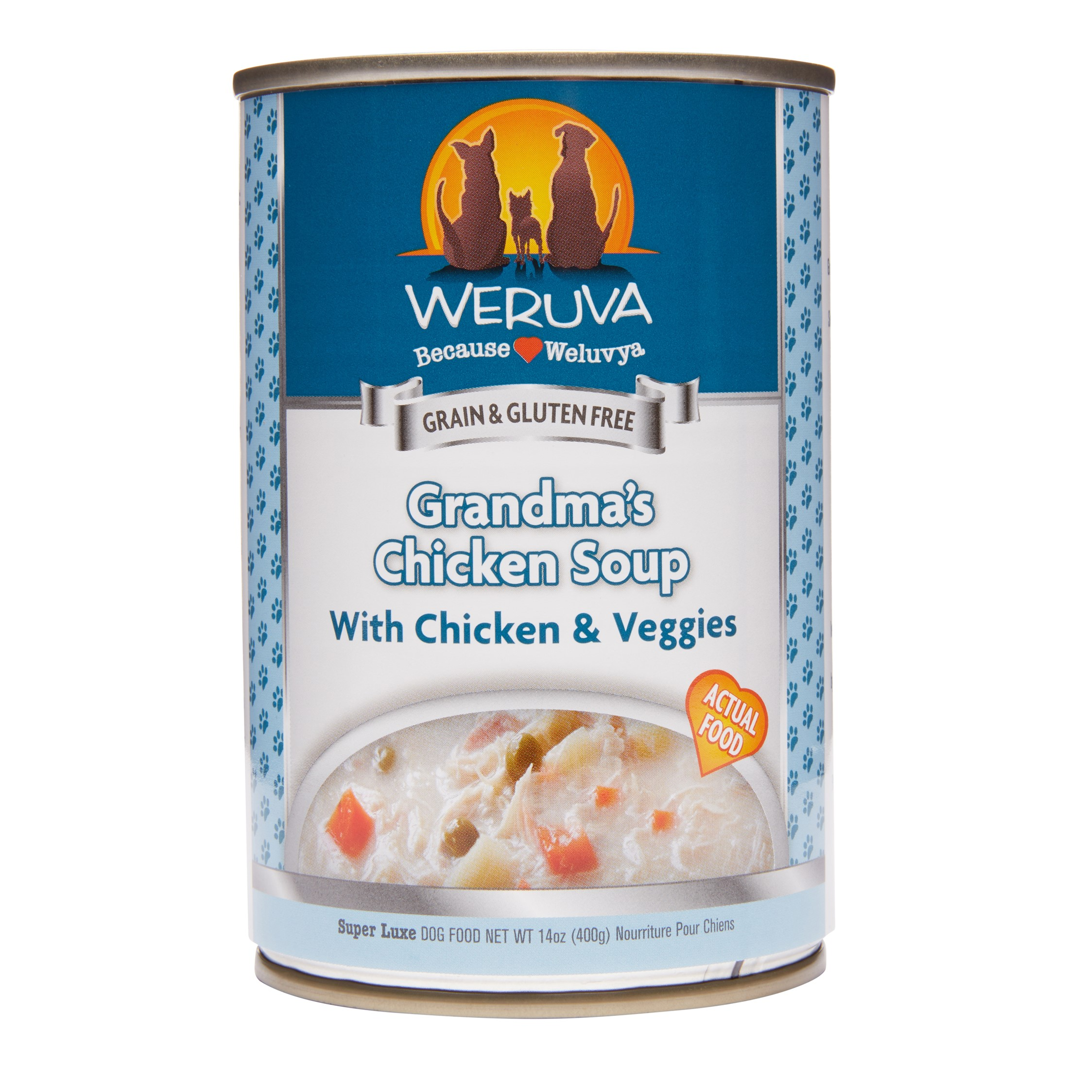 Weruva Human Style Grain-Free Grandma's Chicken Soup with Chicken & Veggies Wet Dog Food, 14 Oz. Cans (12 Pack)