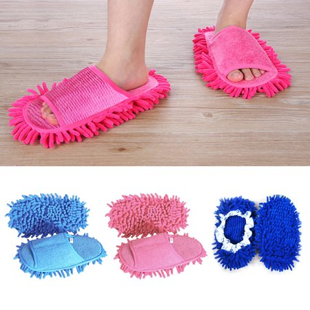 1Pair Creative Floor Shoes Multi-Function Chenille Fibre Washable Dust Mop Slippers Cleaning