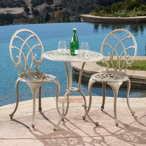 Outdoor Vienna 3 Piece Bistro Set, Off-White
