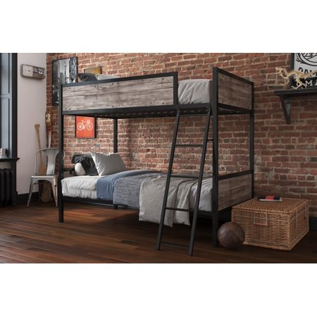 Better Home and Gardens Barrow Industrial Wood/Metal Twin over Twin Bunk