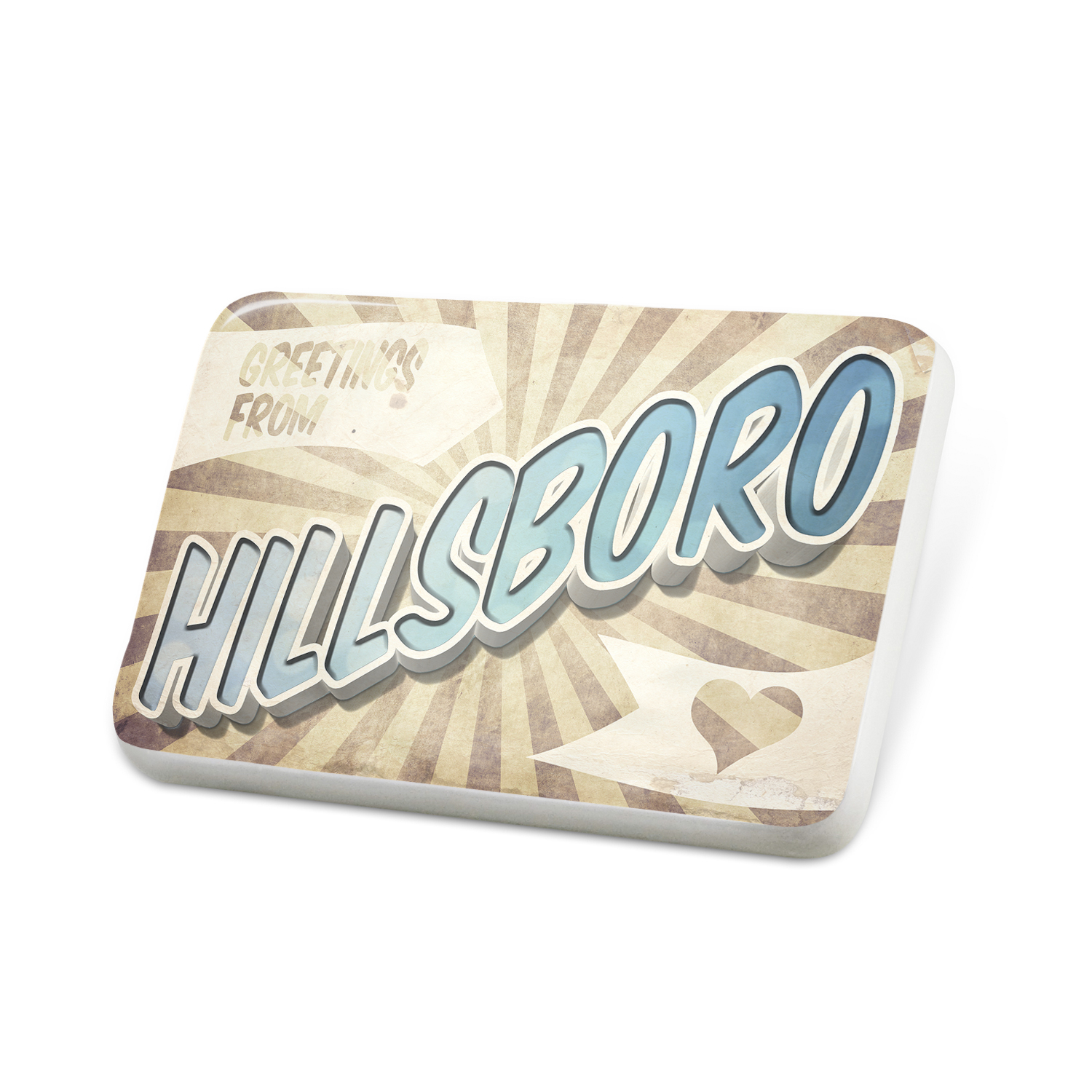Porcelein Pin Greetings from Hillsboro, Vintage Postcard Lapel Badge – NEONBLOND