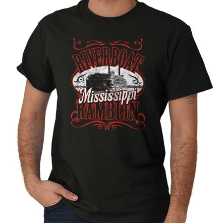 Brisco Brands Historic Mississippi Riverboat Short Sleeve Adult -