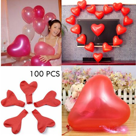 100 Pack 12 Heart Shaped Latex Balloons Helium Balloons Happy