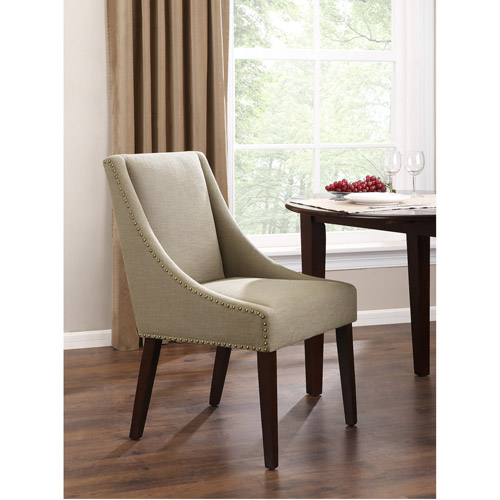 Dorel Home Nail Head Cutback Dining Chair, Taupe/Espresso