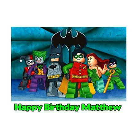 1/4 Sheet Lego Batman Edible Frosting Cake Topper-* - Batman Cake Topper