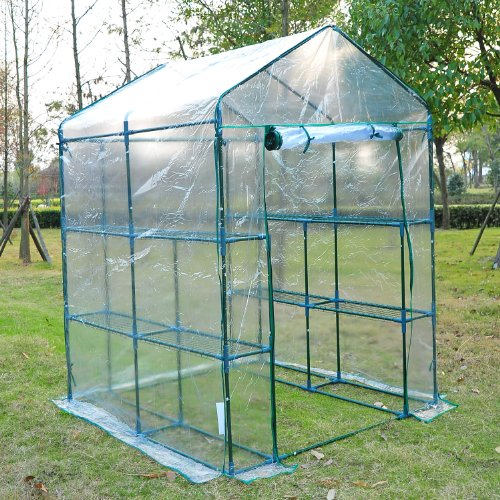 Outsunny 5u0027 X 5u0027 X 6u0027 Portable Walk In Garden Steeple Greenhouse