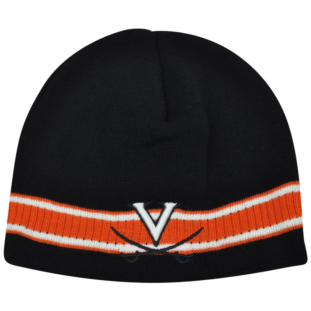 NCAA Virginia Cavaliers Striped Cuffless Beanie Knit Toque Thick Skully Winter