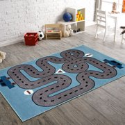 LR Home Fun & Play Drive Blue 3 Ft. 6 In. x 5 Ft. 6 In. Kids Roadway Indoor Area Rug