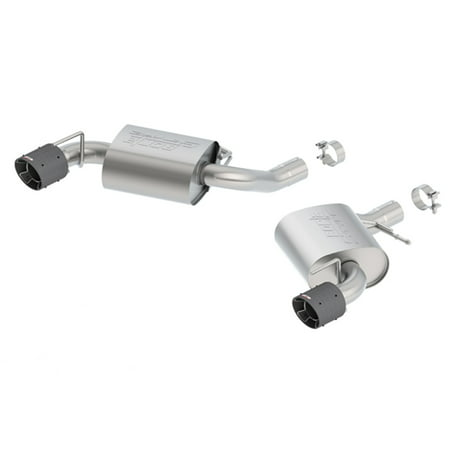 Borla 11922CF S-Type Axle-Back Exhaust System; 2.75 in.; Incl. Right And Left Hand Mufflers/Clamps/4.5 x 5.75 in. Carbon Fiber Round Tips; w/o NPP-Dual Mode Exhaust; Single Split Rear Exit;