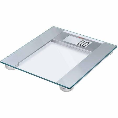 Soehnle PHARO 200 Precision Digital Bathroom Scale, 440 lb Capacity, Safety Glass/Silver