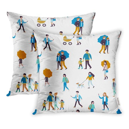 ARHOME Rain Walking People Flat Style White City Family Life Winter Man Autumn Cartoon Pillow Case Pillow Cover 20x20 inch Set of