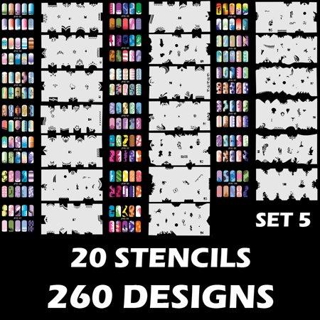 Set 5 260 Airbrush Nail Art Stencil Designs 20 Template Sheets Kit