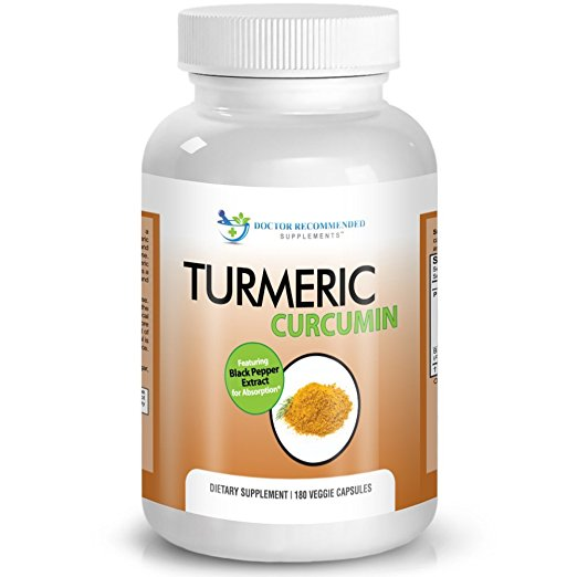 Turmeric Curcumin - 2250mg/day - 180 Veggie Caps - 95% Curcuminoids with Black pepper Extract (Piperine) - 750 mg capsules - 100% ORGANIC Turmeric