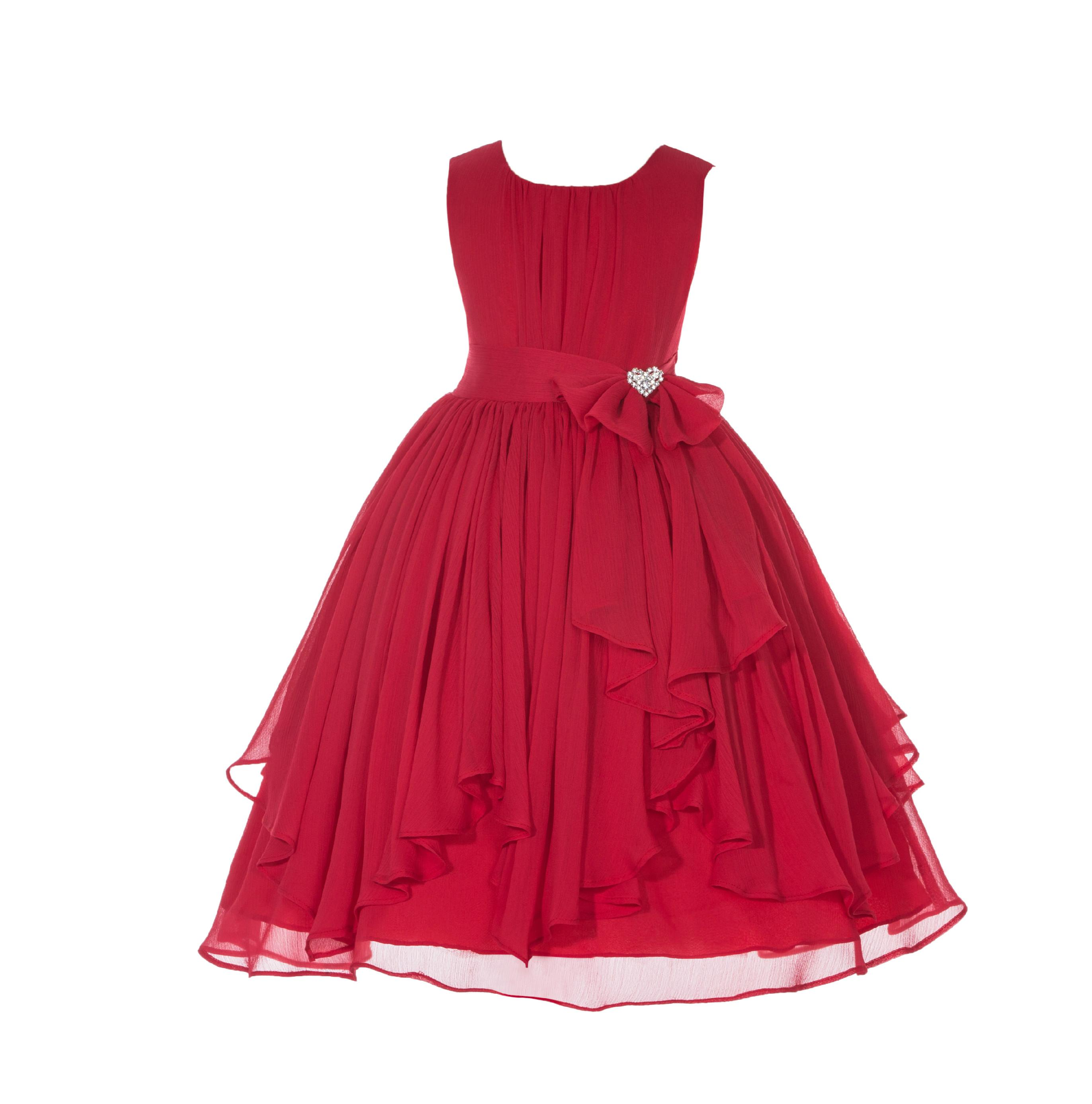 Ekidsbridal  Yoryu Chiffon Ruched Bodice Rhinestone Flower Girl Dress Toddler Wedding Pageant 162 red size 4