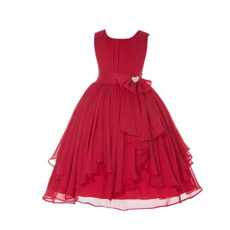 Ekidsbridal  Yoryu Chiffon Ruched Bodice Rhinestone Flower Girl Dress Toddler Wedding Pageant 162 red size 4
