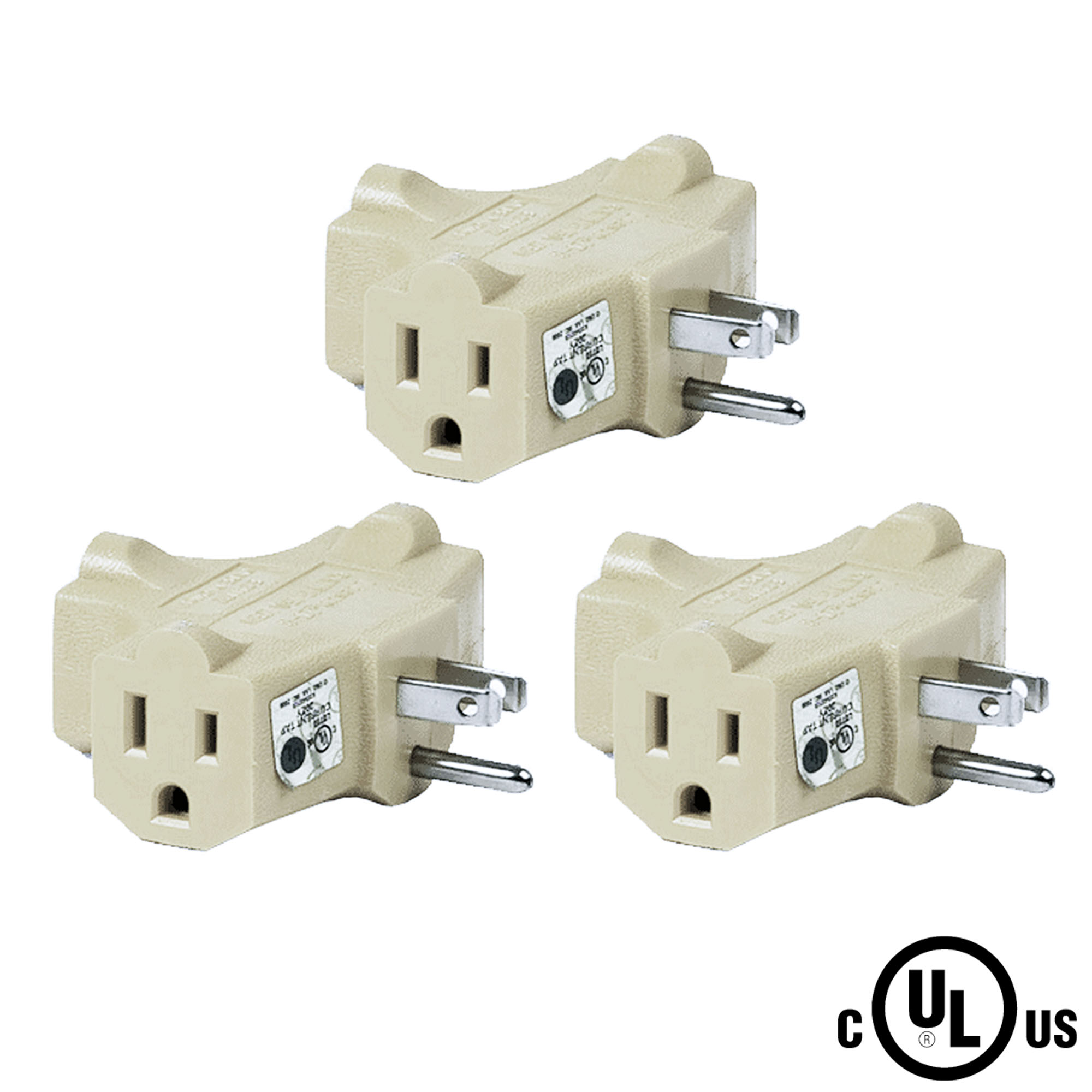 (3-pack) Uninex T-shape 3 Way Outlet Heavy Duty Grounded Wall Plug Tap Adapter Beige