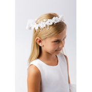 Girls White Flower Rhinestone Shiny Pearl Embellished Special Occasion Crown