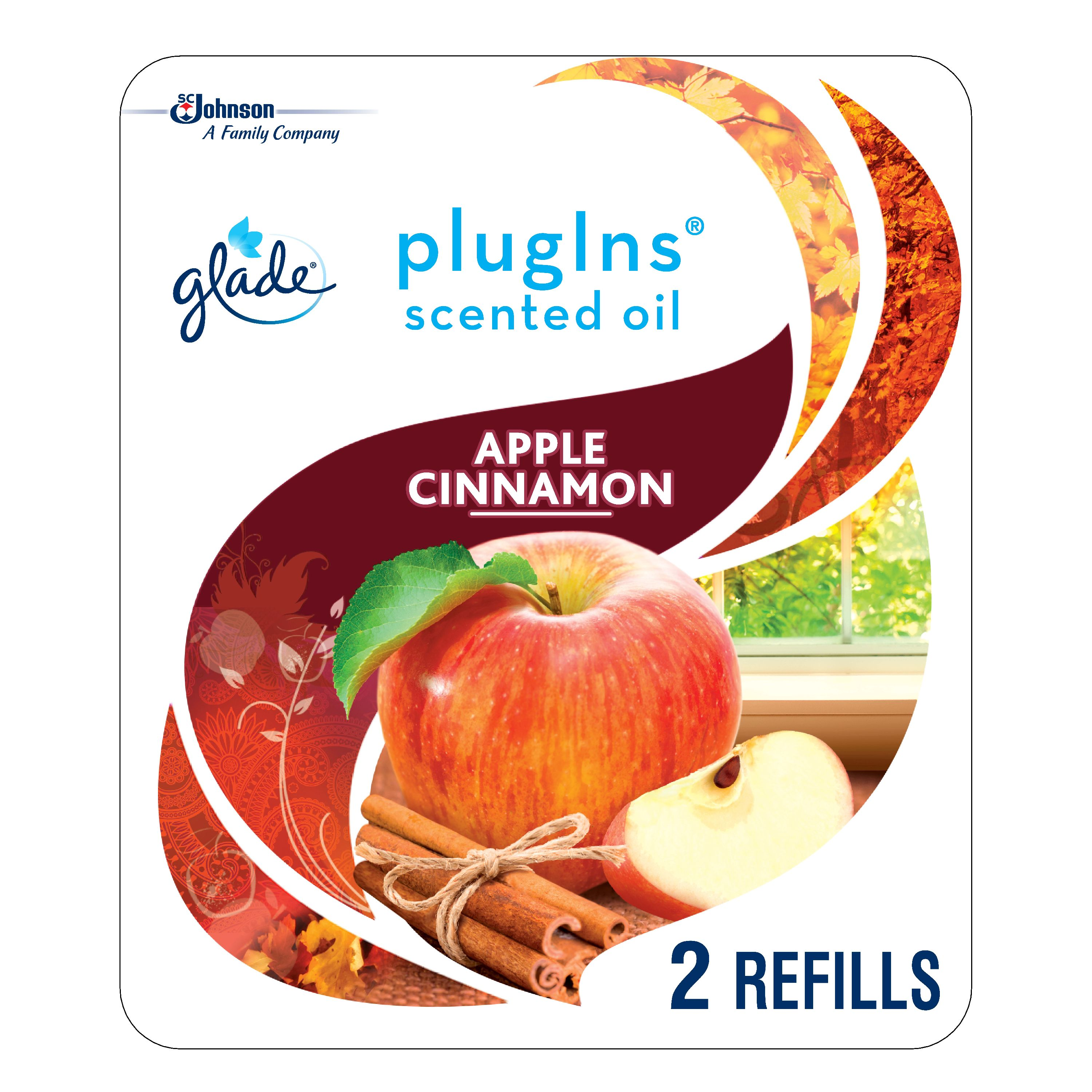Glade PlugIns Scented Oil Refill Apple Cinnamon, Essential Oil Infused Wall Plug In, Up to 50 Days of Continuous Fragrance, 1.34 oz, Pack of 2
