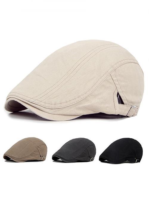 Men Casual Classic Solid Color Flat Cabbie Newsboy Ivy Hat Cotton Sun...