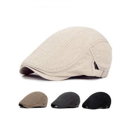 Men Casual Classic Solid Color Flat Cabbie Newsboy Ivy Hat Cotton Sun Beret (Raffia Classic Hat)