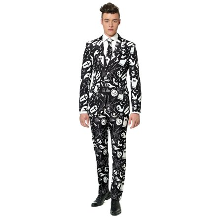 Black and White Pumpkin Printed Men Adult Halloween Suit - Medium